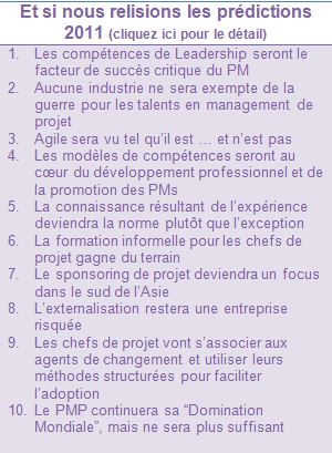 les prédictions ESI International en 2011
