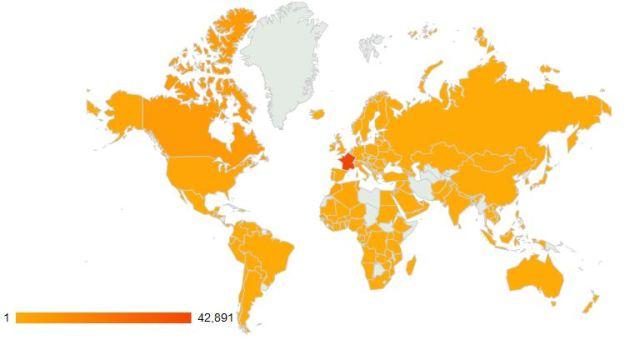 distribution géographique des lecteurs de DantotsuPM