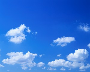 Scattered Cumulus Clouds in a Blue Sky
