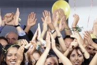 Office Workers Clapping at Office Party